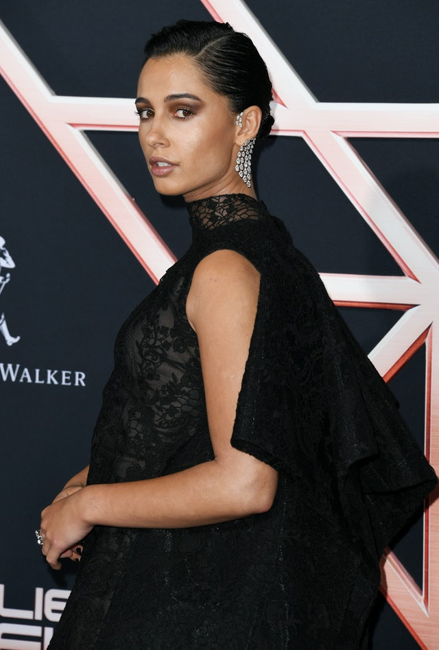 Eyeshadow, lipstick, and bronzer from Naomi Scott's Chanel makeup at the Charlie's Angels premiere