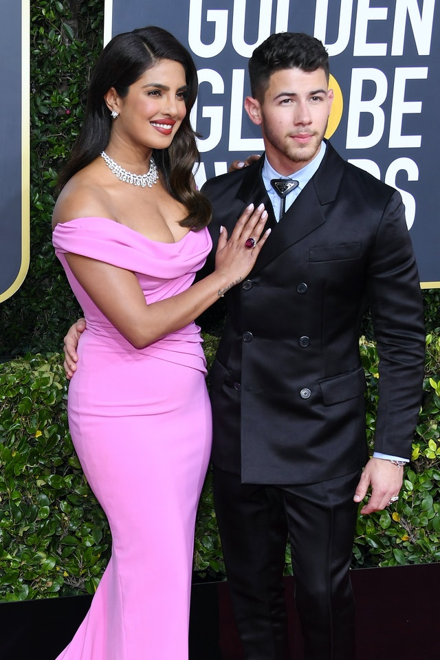 Priyanka Chopra wears white nails at the Golden Globes, one of 2020's celebrity nail polish trends