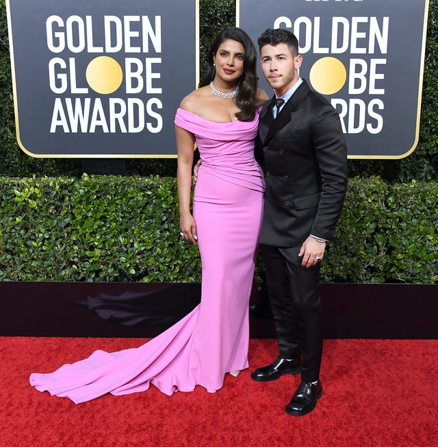 Priyanka Chopra's hair at the Golden Globe Awards, dress, and jewelry