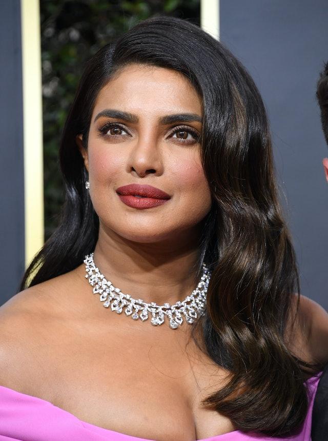 Priyanka Chopra's hair at the Golden Globe Awards styled in soft waves