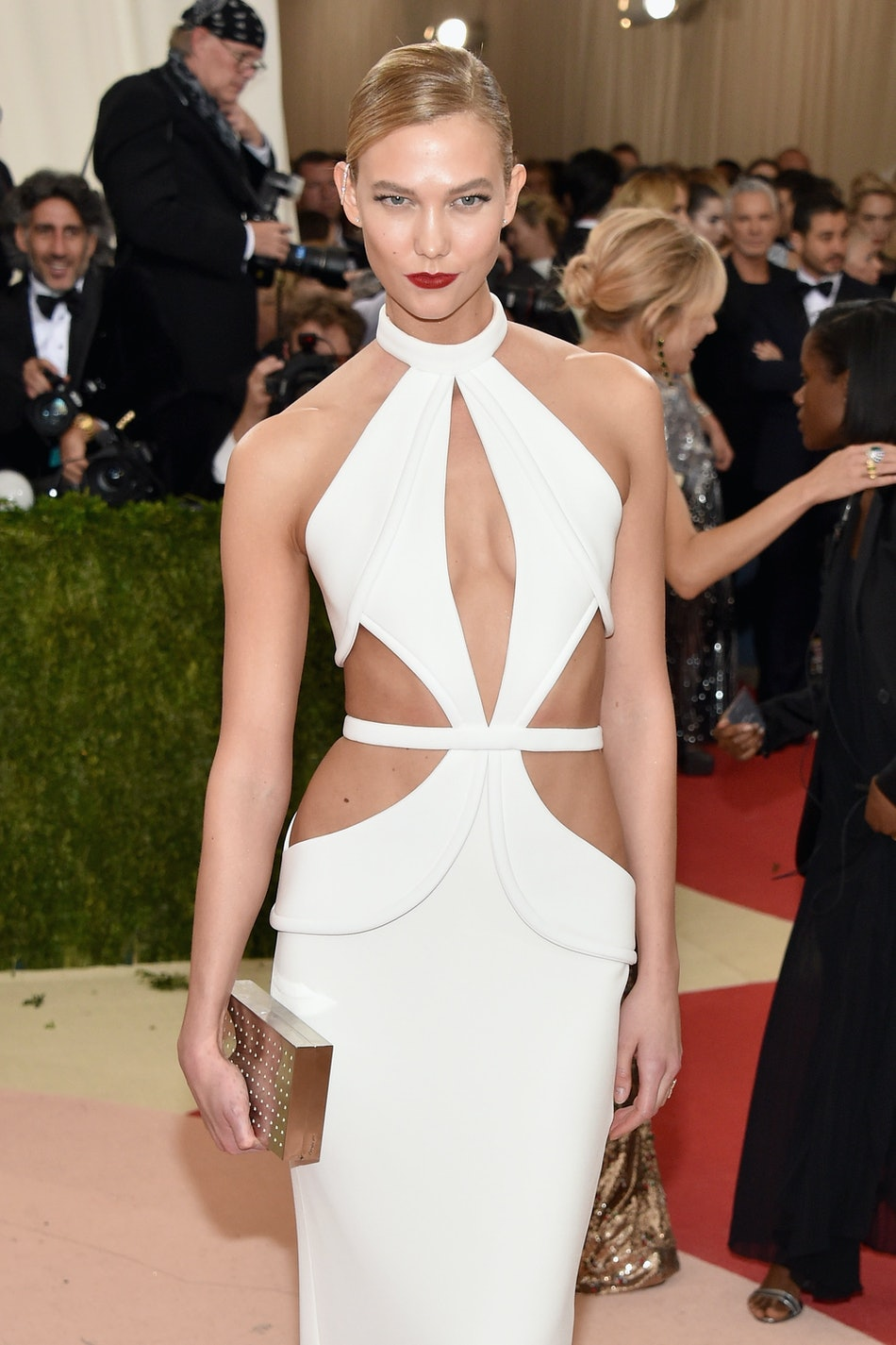 Model and Project Runway judge Karlie Kloss wears Brandon Maxwell to the 2016 Met Gala.