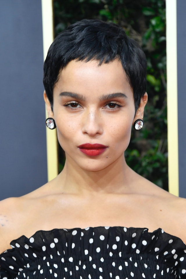 Pixie haircuts can have bangs, too, according to Zoe Kravitz