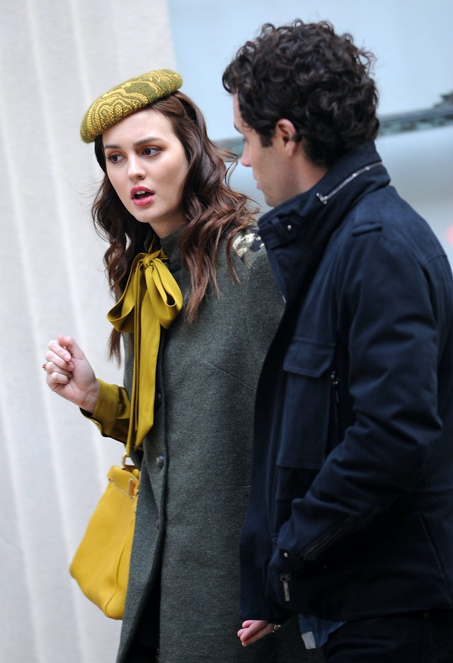 Leighton Meester wears a yellow beret on top of her curled hair