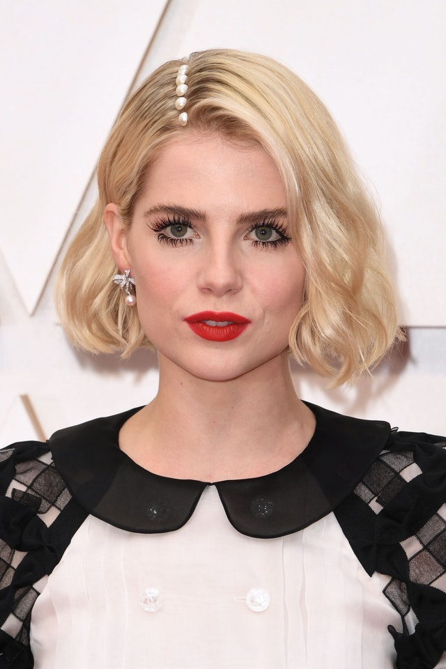 Lucy Boynton's pearl-adorned part is an easy-but-unexpected way to accessorize short hair