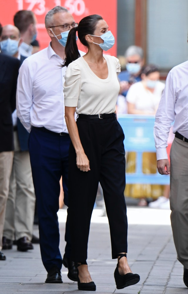 Queen Letizia has traded in her signature straight hairstyle for a recurring ponytail lately