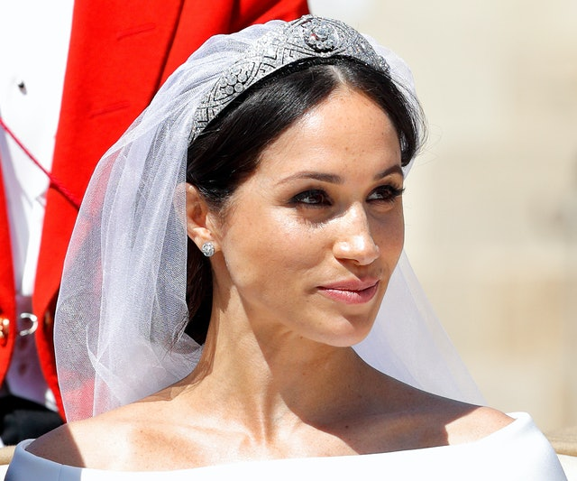 On her wedding day, Markle opted for a natural look.