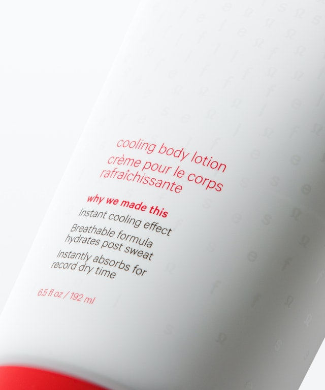 Detail of lululemon's New Speed Up Cool Down Body Lotion