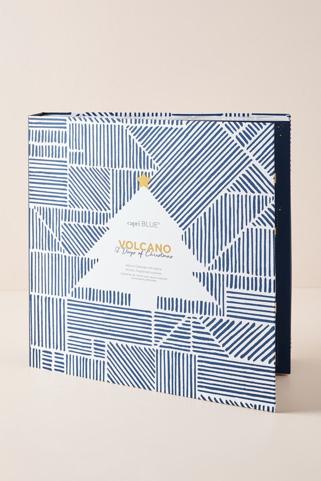 Packaging for Anthropologie's Capri Blue 12 Days of Volcano Holiday Gift Set