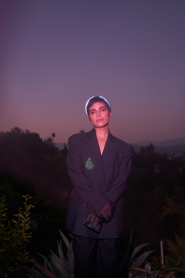 Angela Trimbur in a blazer