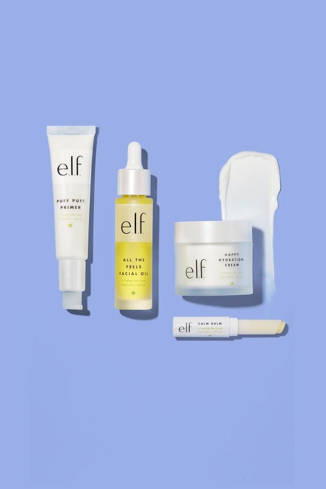 Face oil, primer, lip balm, and moisturizer from e.l.f. Cosmetics' Cannabis Sativa collection