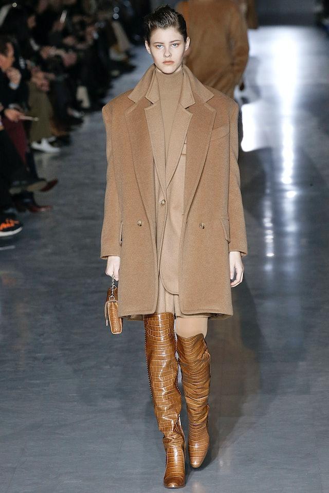 A model walks the runway at the Max Mara show during Milan Fashion Week Fall 2019.