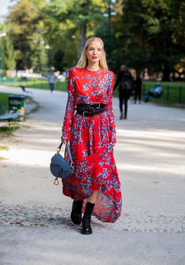 Street style photo of influencer Leonie Hanne outside the Philosophy show during Milan Fashion Week Spring 2020.