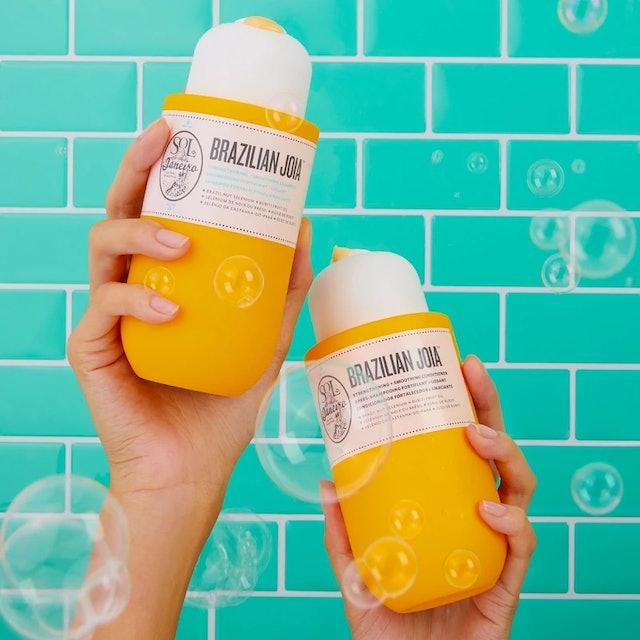 Sol de Janeiro's new Brazilian Joia Shampoo and Conditioner in shower