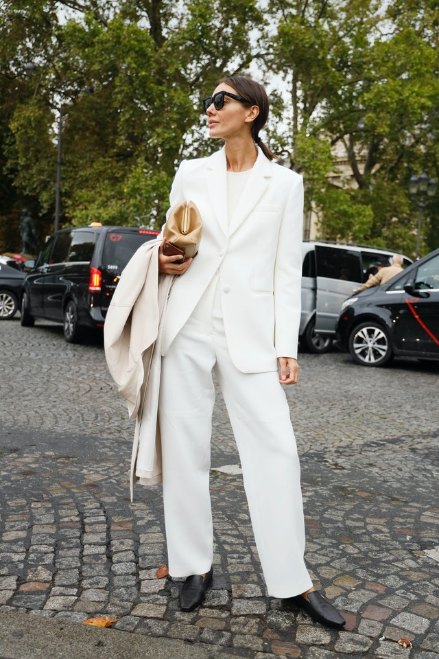 White Suit and Loafers