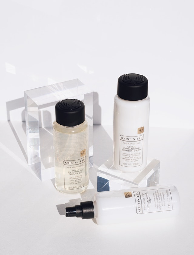 Detangling Tonic, shampoo, and conditioner from Kristin Ess' new Fragrance Free Collection