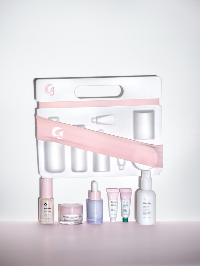 Products inside Glossier's new Skincare Edit