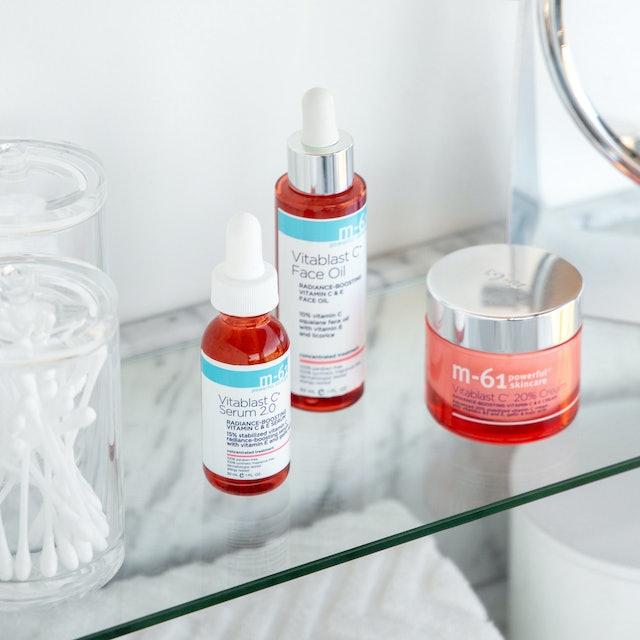 M-61's new Vitablast C 20% Cream joins the rest of the Vitablast range, which includes a vitamin C face oil, serum, and more.
