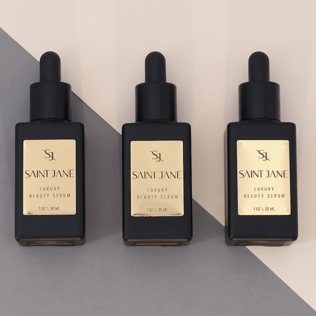 Three bottles of Luxury Beauty Serum from Saint Jane, available in Sephora stores.