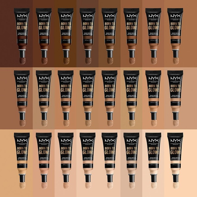 Entire shade range for NYX Professional Makeup's new Born to Glow Radiant Concealer.