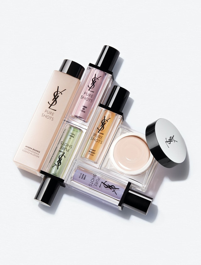 The six products from YSL Beauty's new Pure Shots skincare collection.