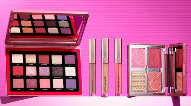 Natasha Denona's new Love Eyeshadow Palette, Lip Oh-Phoria Gloss and Balm, and Love Glow palette.
