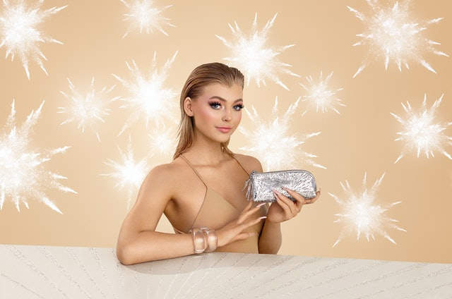 MAC Cosmetics Frosted Firework Holiday Collection campaign photos.