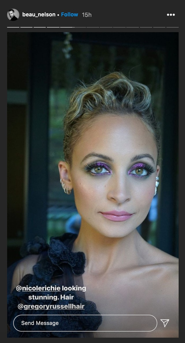 Richie's purple smoky eye was matched with a pink lip.