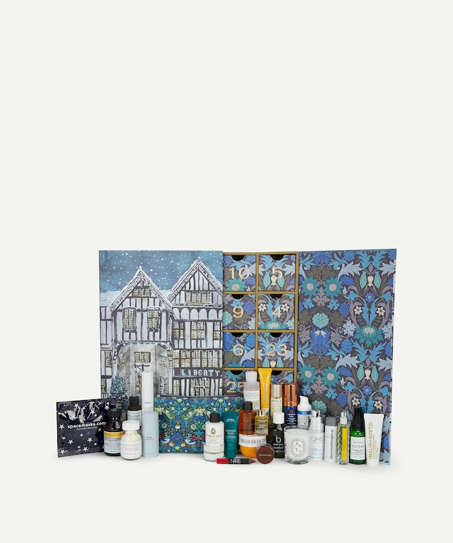 The inside of Liberty's Beauty Advent Calendar 2020, which includes diptyque, Le Labo, NARS, and so much more.
