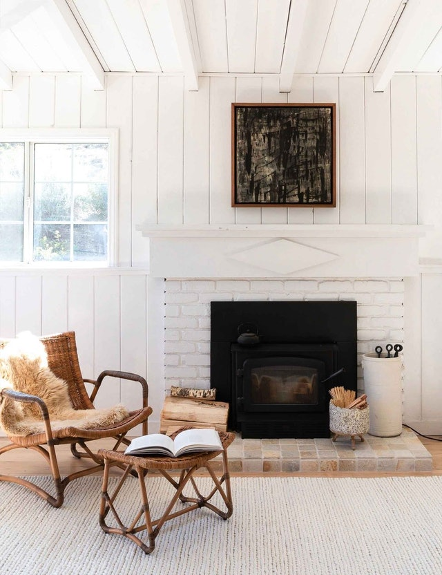 Layer rattan with cozy textures like faux fur in the winter