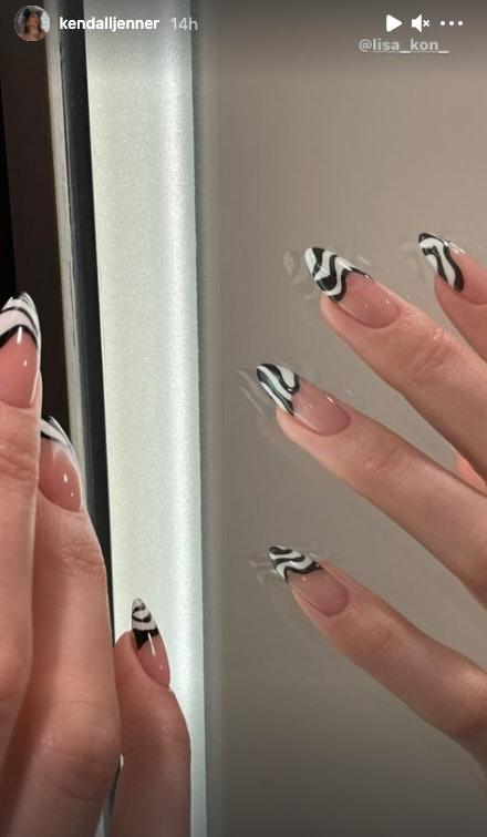 Kendall Jenner's zebra nail design on Instagram Stories.