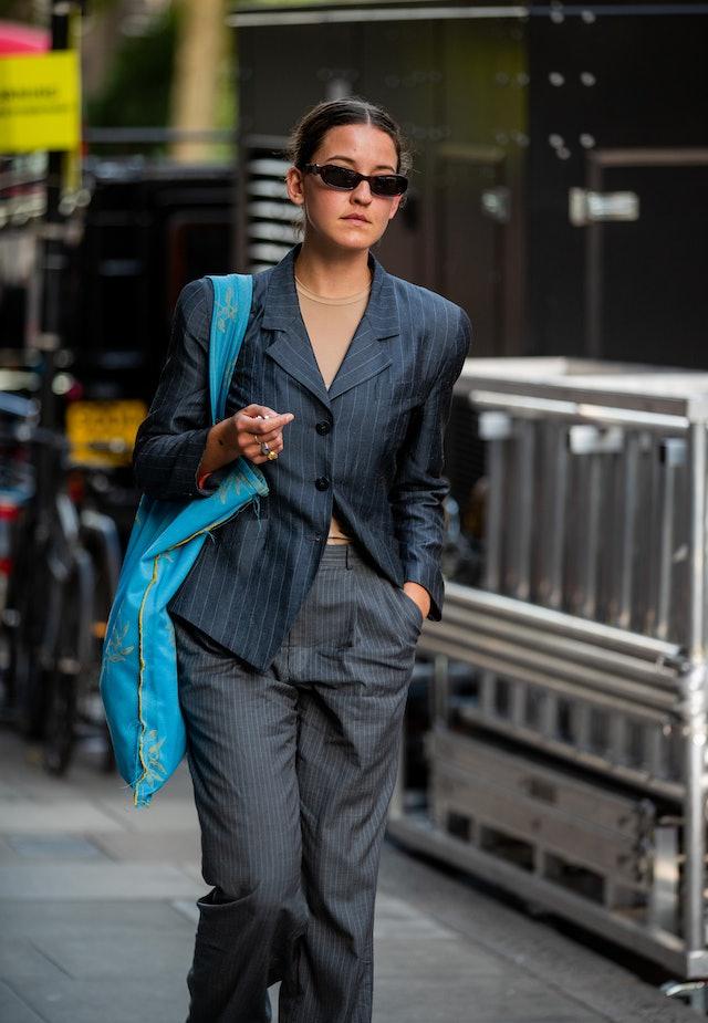 Pinstripe Blazer Street Style