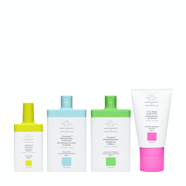 All four products from Drunk Elephant's haircare line.