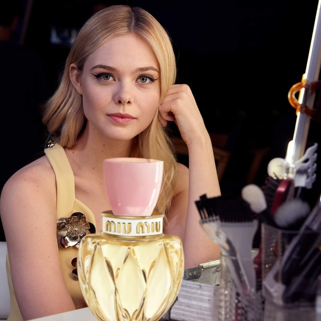 Miu Miu's new Twist Eau de Toilette and Elle Fanning.