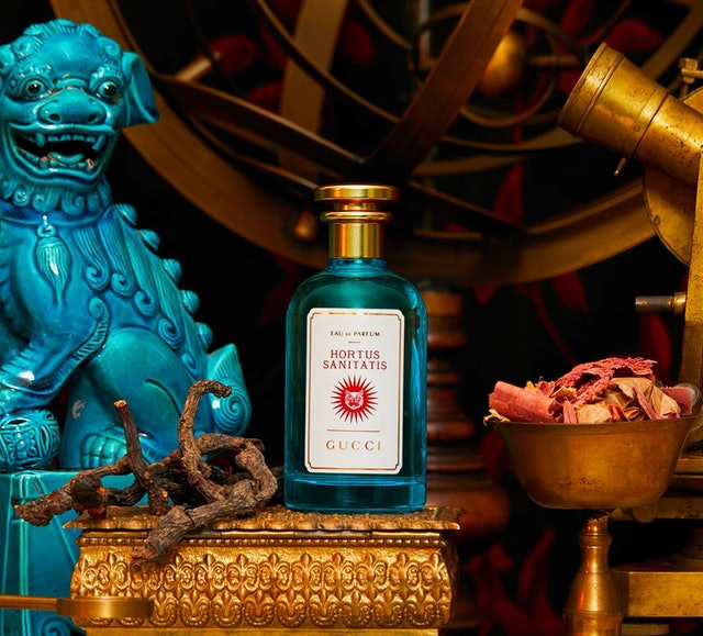 Gucci's Hortus Sanitatis fragrance in bottle.