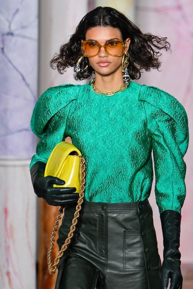 Ulla Johnson chain strap bag at New York Fashion Week.