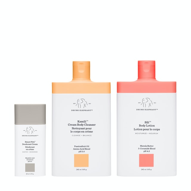 Drunk Elephant body care includes the new Kamili Cream Body Cleanser, Sili Body Lotion, and Sweet Pitti Deodorant Cream.