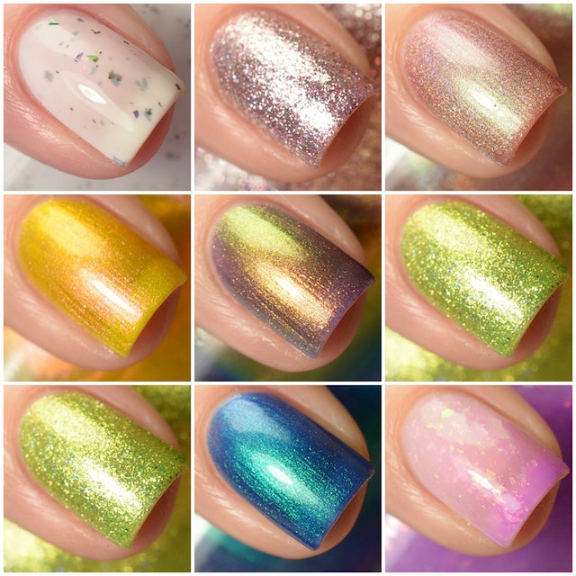 The new KBShimmer nail polishes range from thermal violet and bright lime green to bright blue and creamy white.