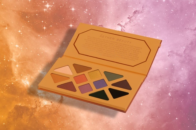 Shades and packaging for Aether Beauty's Joshua Tree Desert Matte Eyeshadow Palette.