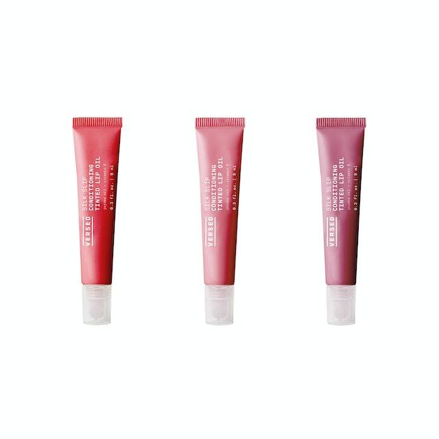 Versed's new Silk Slip Tinted Lip Oils shades.