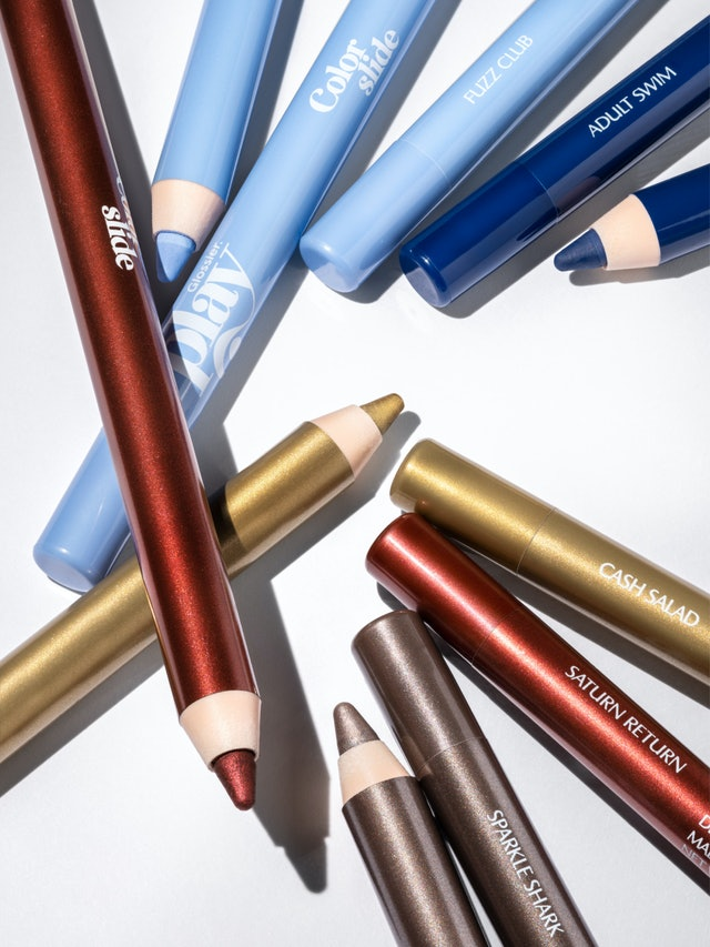 Multiple shades of Glossier's Colorslide eye pencil.
