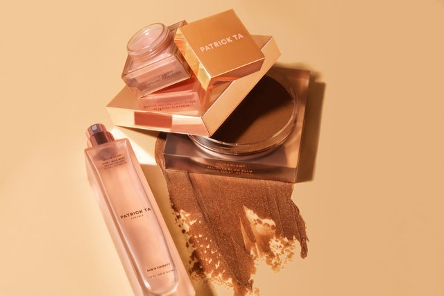 Softening Lip Masque, All Over Glow Balm, and Dewy Milk Mist from the Patrick Ta Beauty Major Glow 2.0 collection.