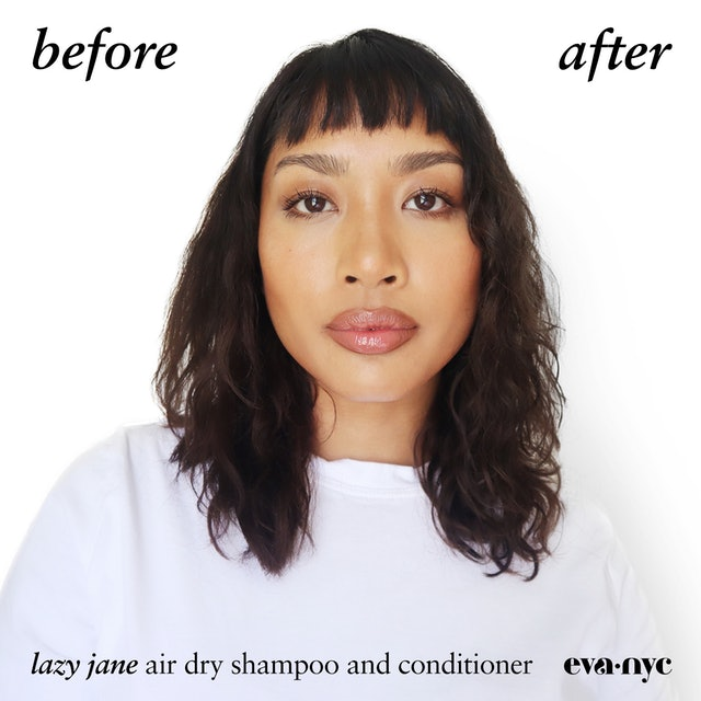 Eva NYC Lazy Jane Air Dry collection shampoo and conditioner before and after photos.