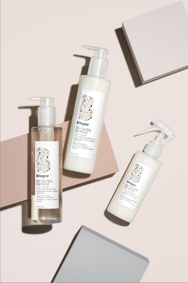 Shampoo, conditioner, and detangler from Briogeo's Be Gentle, Be Kind Aloe + Oat Milk Ultra Soothing Collection.