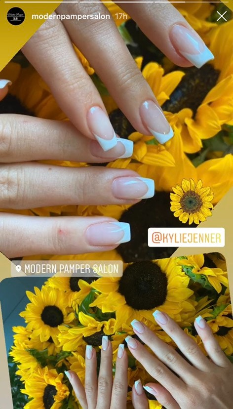 The youngest Jenner sister's manicure was a white version of her sister's blue manicure.