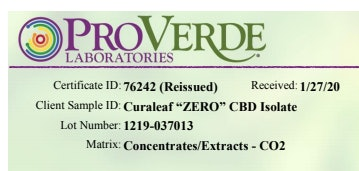 COA showing batch or lot number of CBD tested, which should match the batch or lot number printed on the CBD product tested.