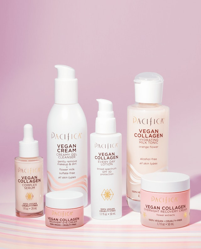 Eye cream, SPF lotion, recovery cream, gel cleanser, serum, and milk tonic from the Pacifica Vegan Collagen collection.