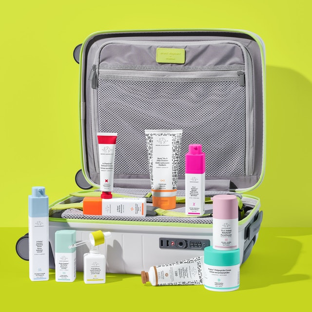 Drunk Elephant's Trunk 4.0 features 10 products that come in a suitcase.