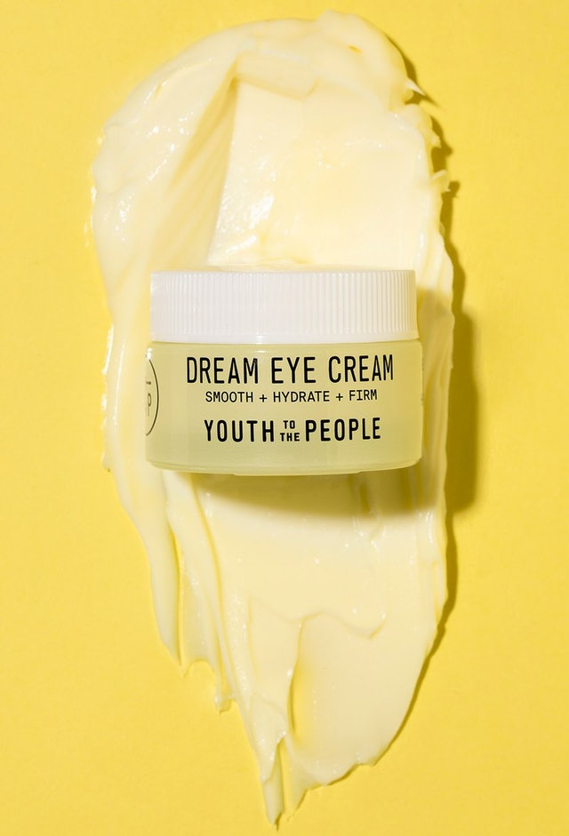 Youth To The People's Dream Eye Cream texture shot and jar.