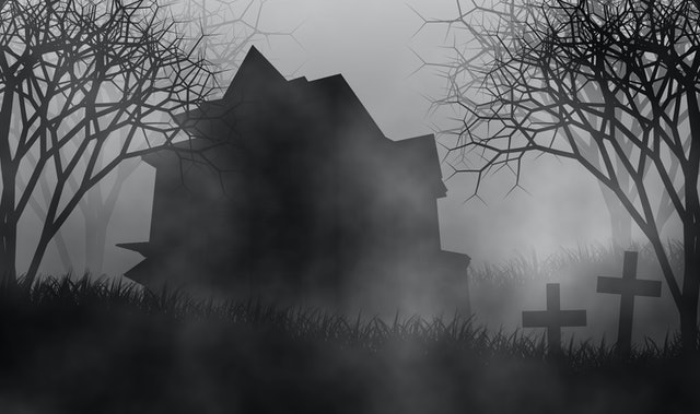 Haunted house on graveyard among creepy forest in scary night illustration halloween concept design background.