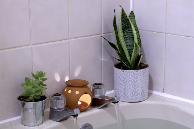 Interior - bathroom, focussing on corner and foot of bath, with plants and candle, essential oil burner